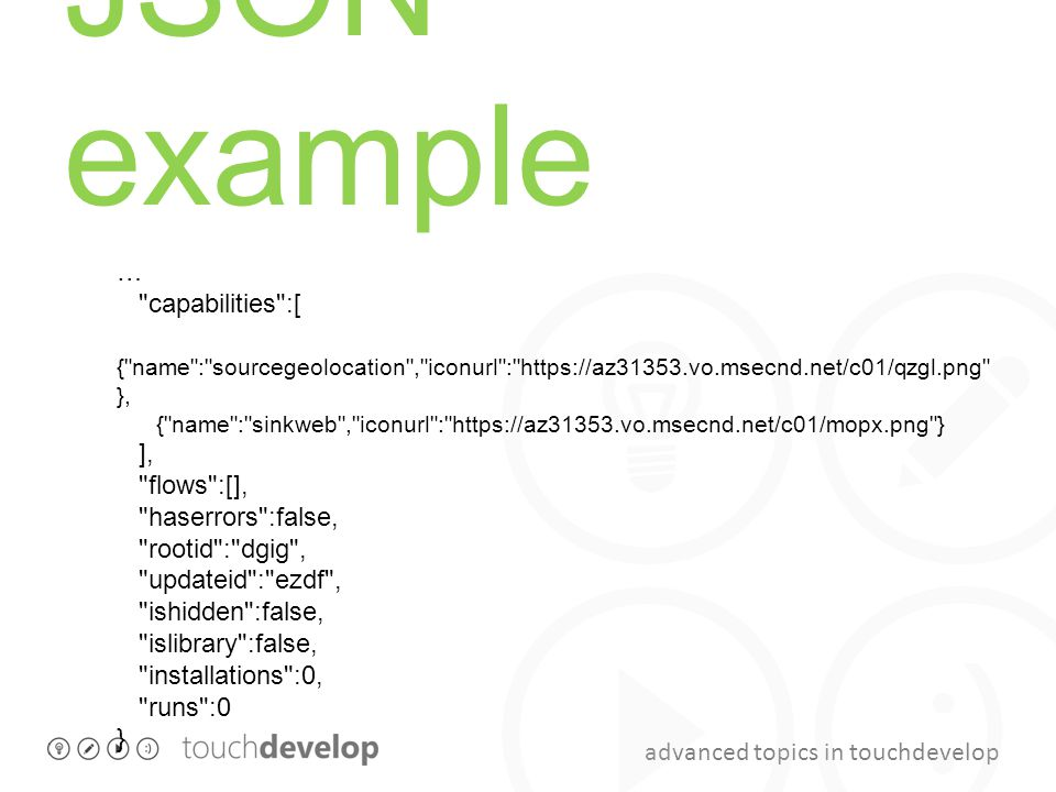 JSON example … capabilities :[